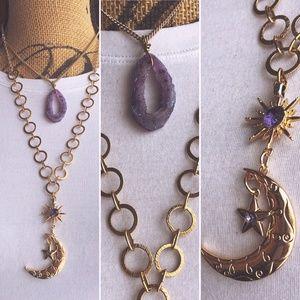 Jewelry - Gold & Purple Moon Necklace w/Matching Earrings